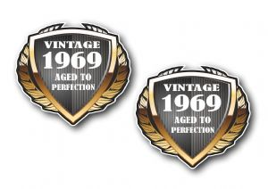 2 pcs of 1969 Year Dated Vintage Shield Retro Vinyl Car Motorcycle Cafe Racer Helmet Sticker 55x50mm